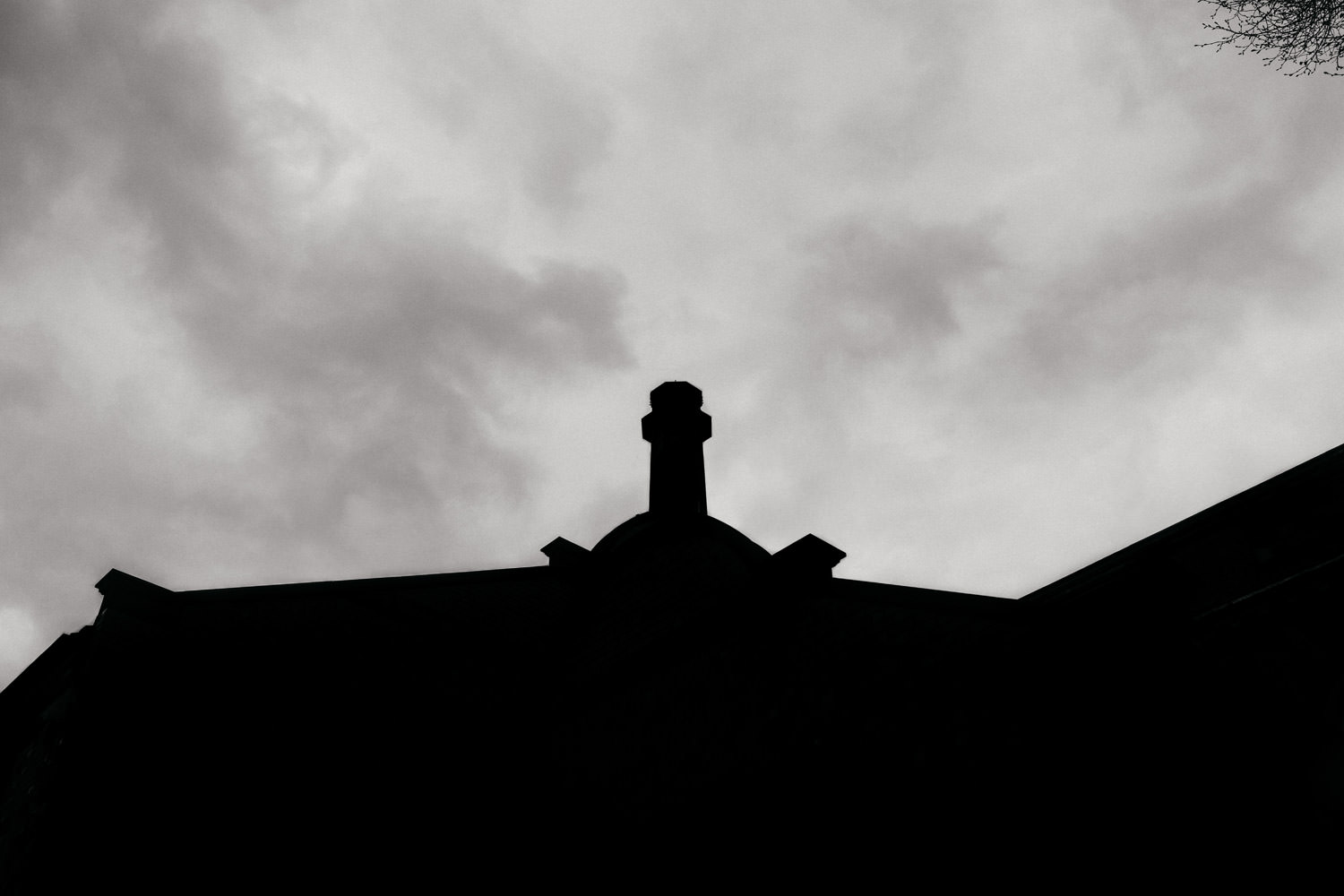 A silhouette of The Pumping House wedding venue